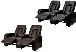 1 Row Of 2 Motorized Power Recliner Home Theater Chairs Blac