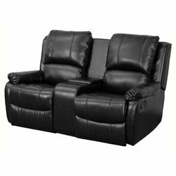 Bowery Hill 2 Seat Home Theater Recliner in Black