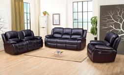 Betsy Furniture 3-PC Bonded Leather Recliner Sofa Set Living