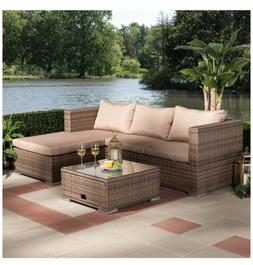 Baxton Studio 3-PIECE WOVEN RATTAN OUTDOOR PATIO SET WITH AD