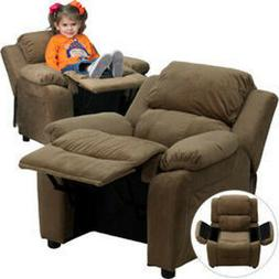 Deluxe Heavily Padded Contemporary Brown Microfiber Kids Rec