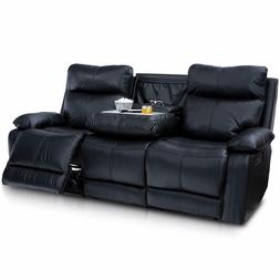 Seatcraft Allegiance Home Theater Seating Sofa Black Leather