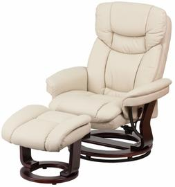Beige Leather Swiveling Recliner with Ottoman Arm Chair Swiv