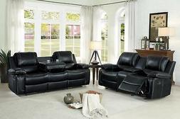 Black Aire Hyde Double Glider Reclining Sofa Set 2Pcs Homele