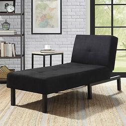 Black Chaise Lounge Chair Day Bed Sleeper Sofa Flat Bed Loun