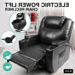 Black Electric Power Lift Recliner Chair Elderly Armchair Lo