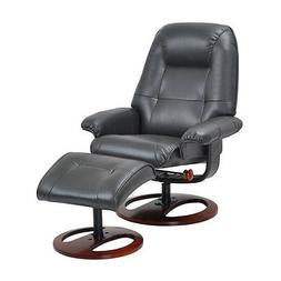 Benchmaster Black Leather Recliner Chair and Ottoman with Sw