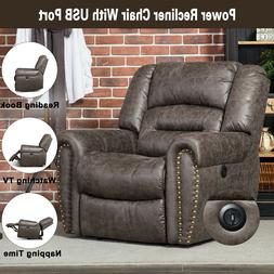 Electric Recliner Chair W/USB Port Breathable Bonded Leather