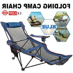 Blue Reclining Folding Camp Chair With Footrest Cup Holder L