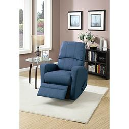 Benzara BM166610 Swivel Recliner Chair in Navy Polyfiber Fab