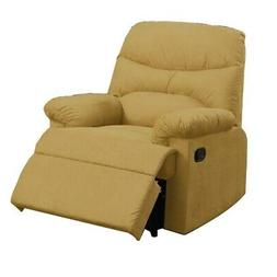 Benzara BM171496 Solid Pine Recliner, Yellow