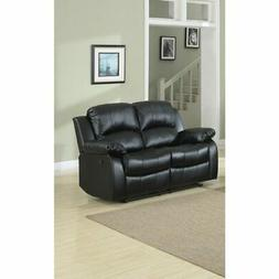 Bonded Leather Recliner Loveseat, Black Black Americana