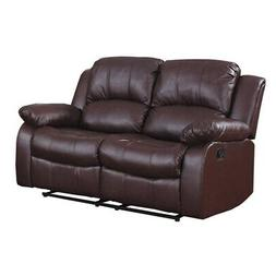 Bonded Leather Recliner Loveseat, Brown Brown Americana