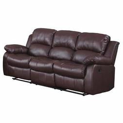 Bonded Leather Recliner Sofa, Brown Brown Americana