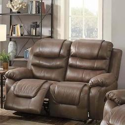 Breathable Leather, Pine Wood & Plywood Reclining Love Seat,