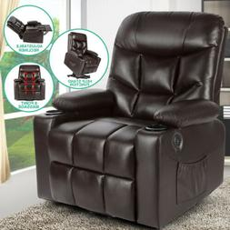 Brown Auto Electric Leather Power Lift Massage Recliner Chai