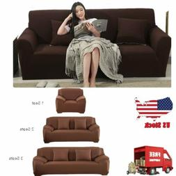 BROWN JERSEY SOFA STRETCH SLIPCOVER, COUCH COVER, CHAIR LOVE