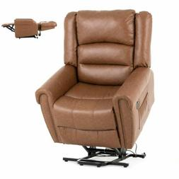 Brown Massage Reclining Lift Chair Leather Vibrating Heated