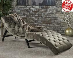 Chaise Lounge Indoor Chair Tufted Velvet Gray Curved Daybed