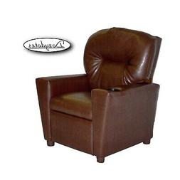 Dozydotes Child Recliner With Cup Holder - Pecan Brown Leath