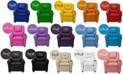 Children's Personalized Contemporary Vinyl Recliner with Cup