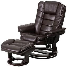 Contemporary Brown Leather Recliner and Ottoman with Swivel