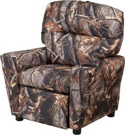 Contemporary Camouflaged Fabric Kids Recliner with Cup Holde