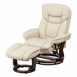 Flash Furniture Contemporary Leather Recliner and Ottoman wi