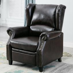 Contemporary Leather Recliner Chair Accent Push Back Padded