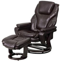 Contemporary Leather Recliner and Ottoman, Brown