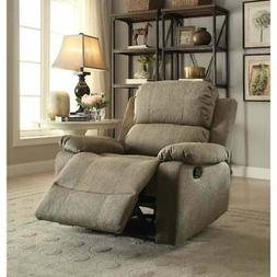 Contemporary Microfiber Upholstered Metal Recliner with Brow
