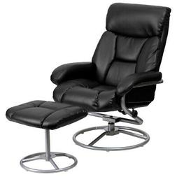 Contemporary Black Leather Recliner and Ottoman with Metal B