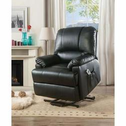 Contemporary Polyurethane Upholstered Metal Recliner with Bl