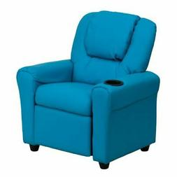 Contemporary Turquoise Vinyl Kids Recliner with Cup Holder a