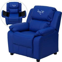 Contemporary Kid's Vinyl Recliner with Storage Arms Upholste