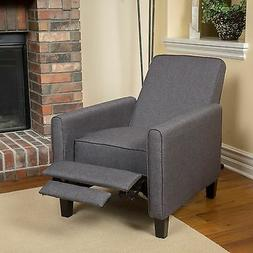 Dark Grey Upholstered Recliner Chair Home Theater Living Roo