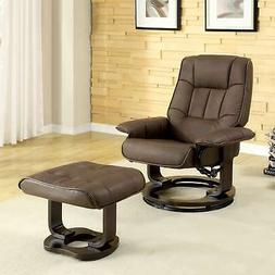 Furniture of America Deak Brown 2-piece Recliner and Ottoman