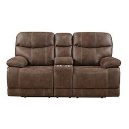 Emerald Home Earl Brown Loveseat with Faux Leather Upholster
