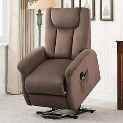Electric Power Lift Recliner Chair Suede Overstuffed Wide So