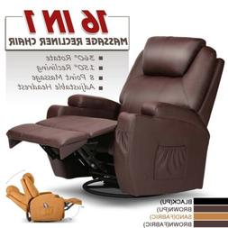 Electric Recliner Chair Massage Sofa PU Leather Arm Lounge H