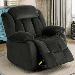 Manual Recliner Chair Breathable Fabric Overstuffed Living R
