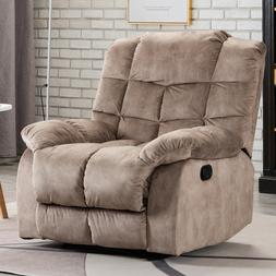 Manual Recliner Chair Fabric Overstuffed Back Couch Sofa Liv