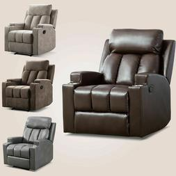 Manual Recliner Chair With 2Cup Holders Home Theater Single