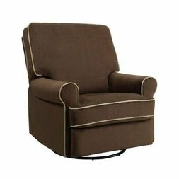 Bowery Hill Fabric Swivel Glider Recliner in Brown