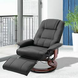 faux leather adjustable traditional manual swivel recliner