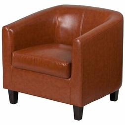 Flash Furniture Faux Leather Reception Chair in Cognac