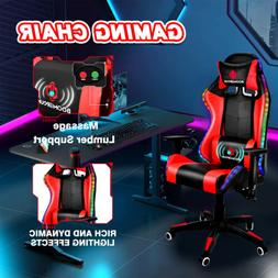RGB Gaming Chair Recliner LED Racing Chair Electric Massage