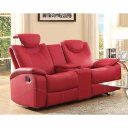 Glider Recliner Loveseat With Adjustable Headrest And Center