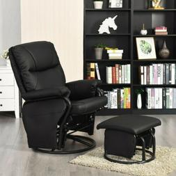 Glider Swivel Rocking PU Leather Recliner Chair Ottoman Seat