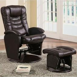 Coaster Glider with Ottoman In Brown Finish 600165
